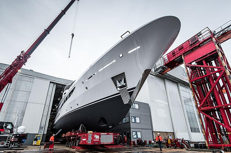 Galene yacht launch at Amels shipyard