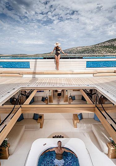 Flying Fox yacht by Lürssen deck