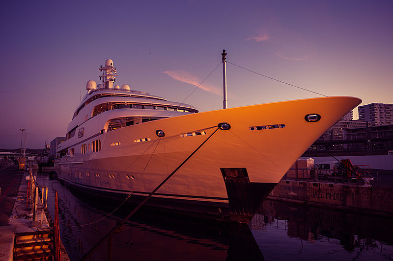 Titania yacht during her refit at Palumbo