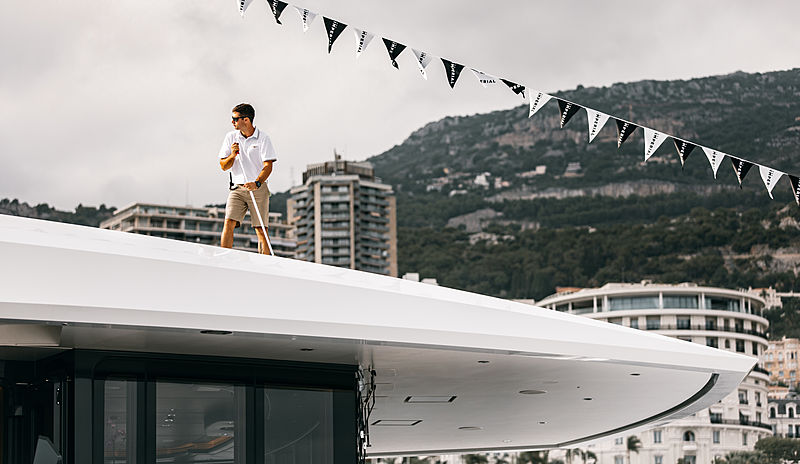Yacht crew in action