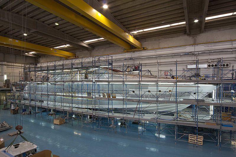 SOL Riva 122 Mythos yacht under construction