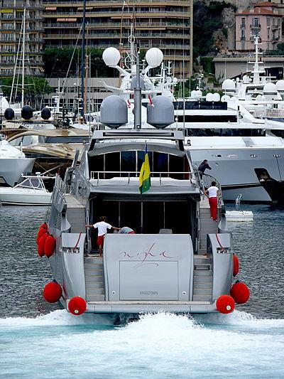 Nina J yacht arriving in Monaco