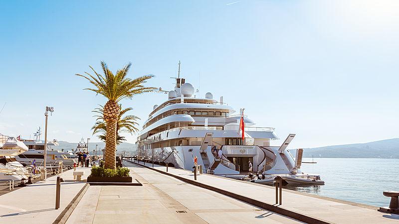 Golden Odyssey yacht docked in Porto Montenegro marina