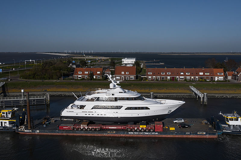 Lady Charlotte yacht on transport after refit