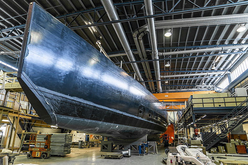 Baltic 146 yacht under construction at Baltic Yachts