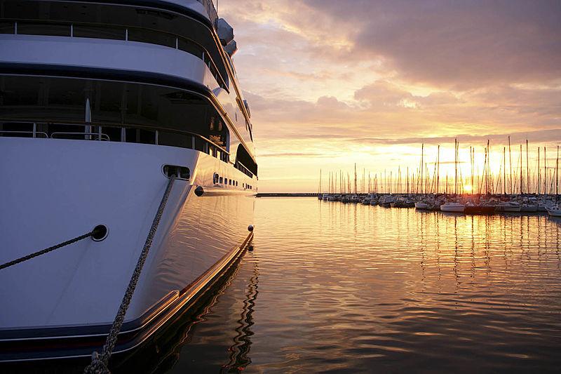 Ambrosia yacht at sunset