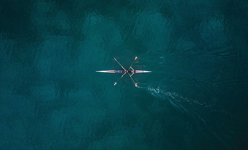 Aerial view of canoe boat rowing