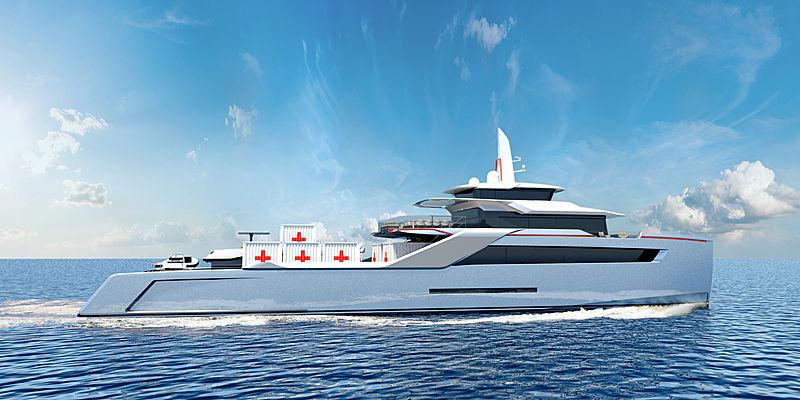 Project Echo HSV catamaran yacht exterior rendering
