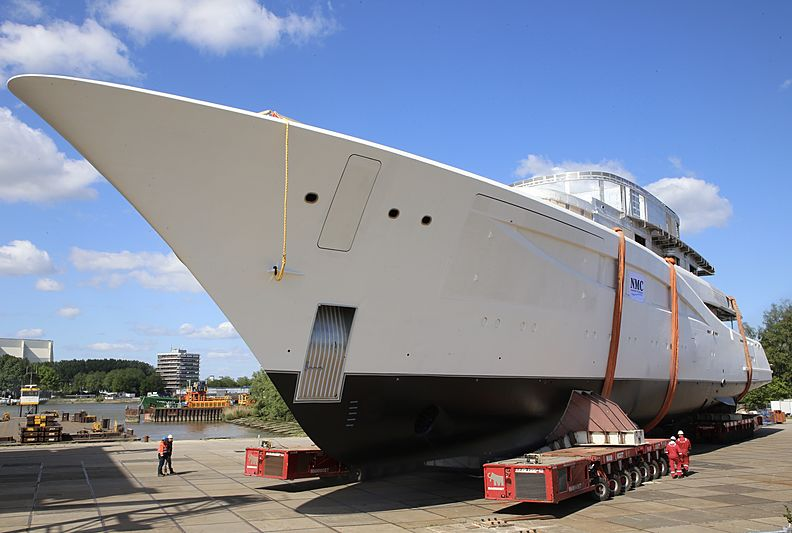 Feadship Van Lent 820 yacht hull roll-out at NMC Bolnes yard