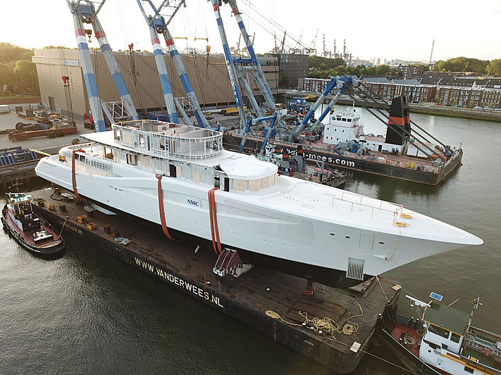 Feadship Van Lent 820 yacht hull launch