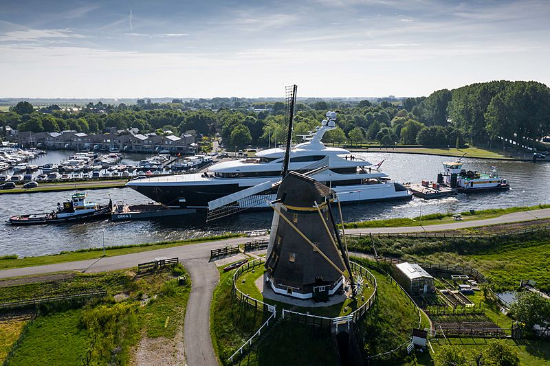Podium yacht by Feadship under transport in Holland