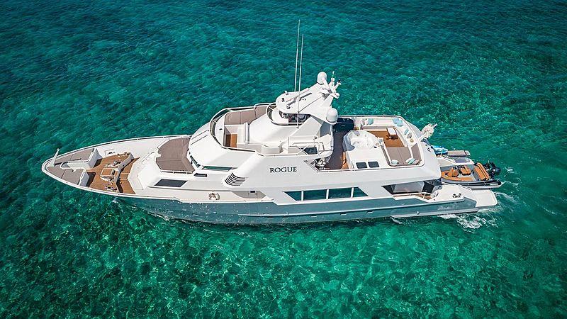 Rogue yacht at anchor