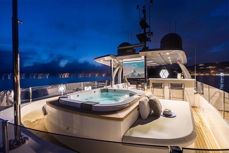 Mirabilis yacht sundeck at night