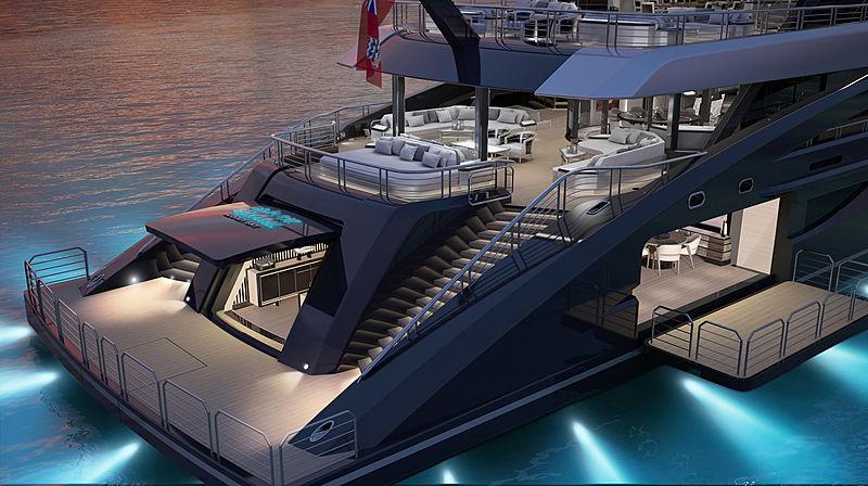 Black Shark yacht aft rendering