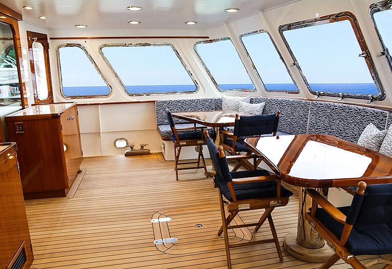 Blue yacht dining area