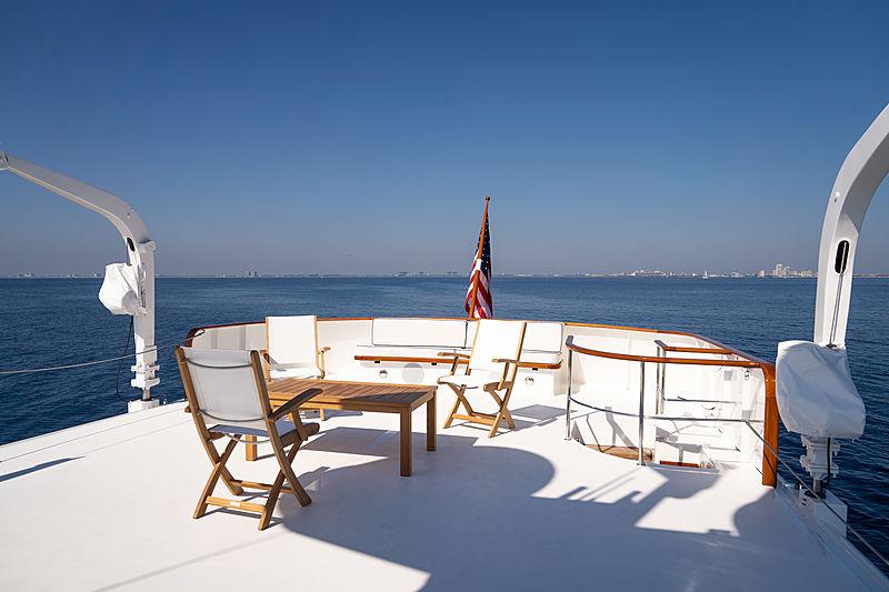 Blue yacht sundeck