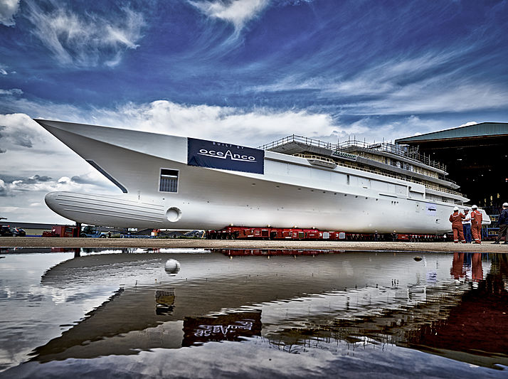 Oceanco Y720 hull launch at Oceanco Zwijndrecht