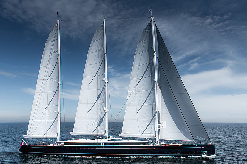 Sea Eagle II yacht by Royal Huisman underway with full sails