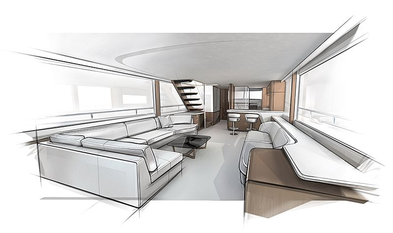 Princess Yachts X80 interior sketch