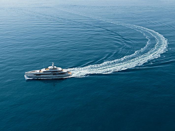 Amare II yacht on her maiden voyage