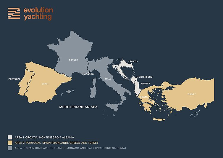 Evolution Yachting 2020 pricing model area map