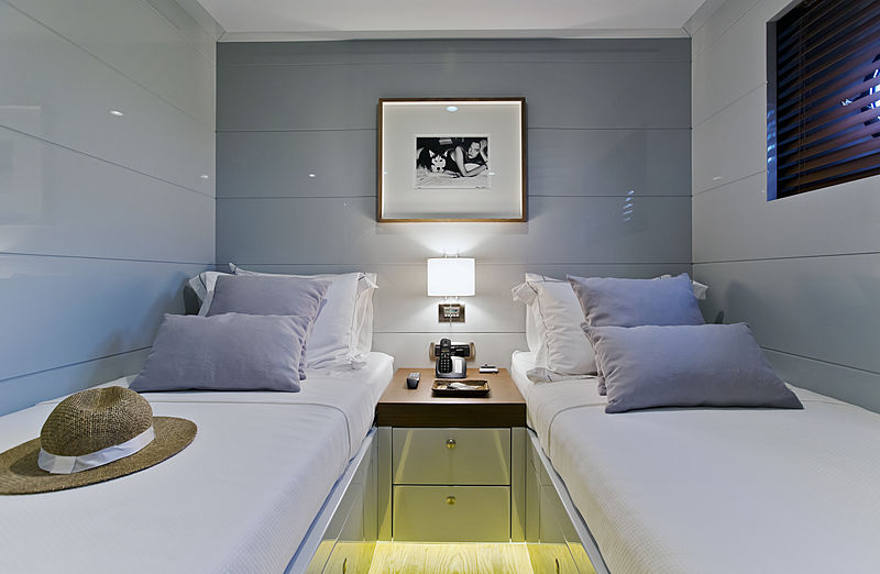 Only Now yacht twin stateroom