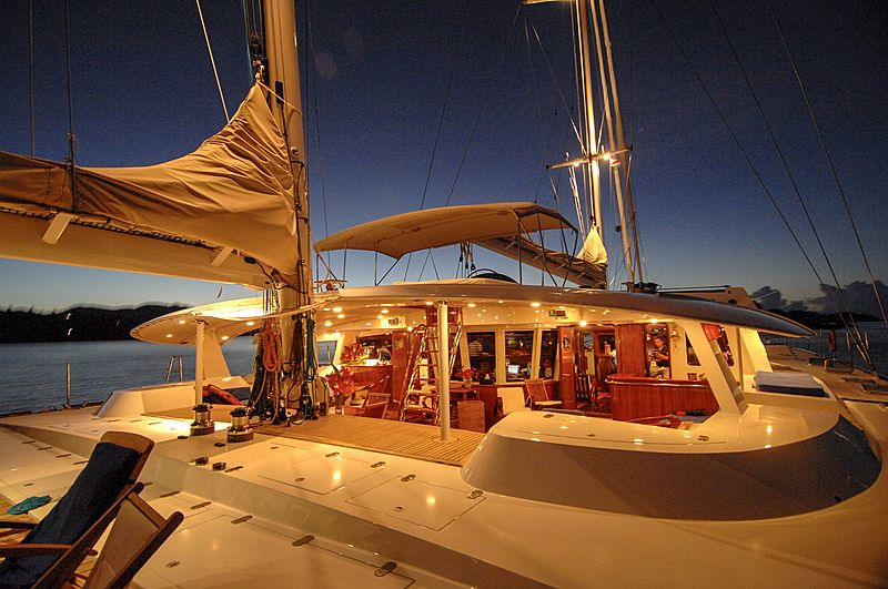 Douce France yacht at night
