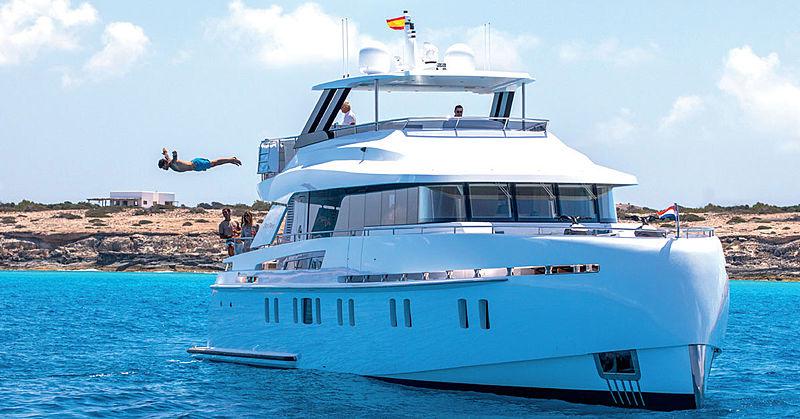 Sea Story yacht anchored in Ibiza