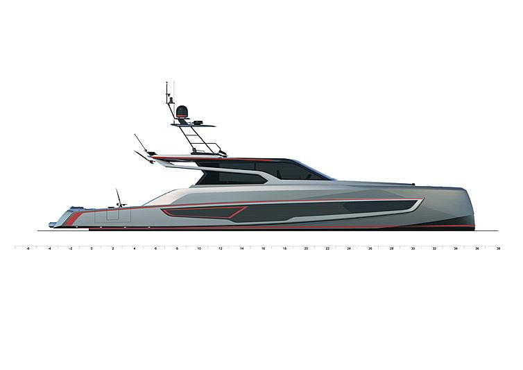 Vanquish VQ80 SportFish yacht profile rendering