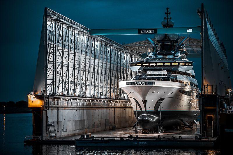 Opus yacht launch at Lürssen