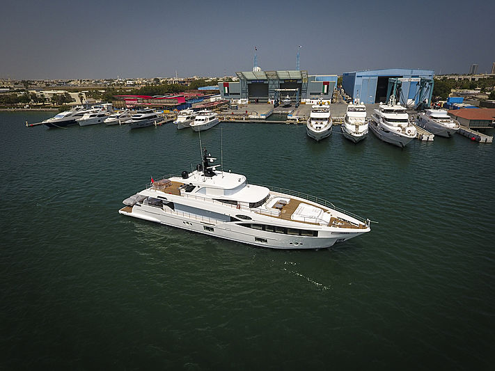 Isla and Harmony yachts delivery at Gulf Craft yard