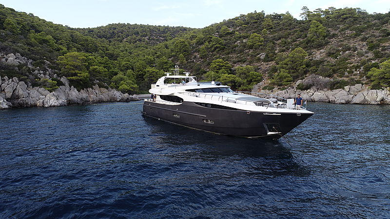 Sanjana yacht at anchor