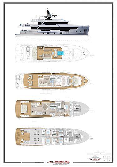 Rosetti 38m EXP yacht layout