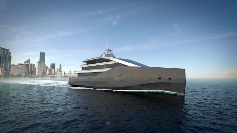 62m Crystal Blue Superyacht Concept - rendering