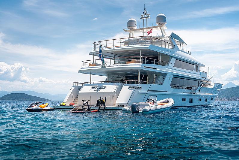 Sunrise yacht at anchor