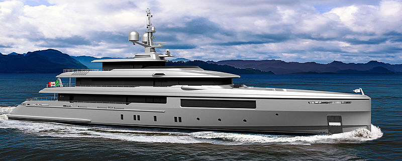 Codecasa C127 yacht rendering