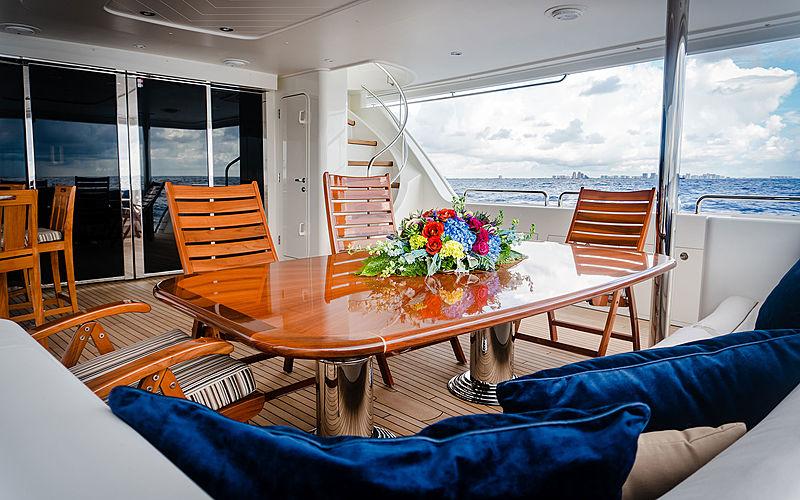 Lady JJ yacht aft deck