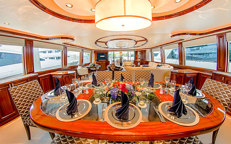 Lady JJ yacht dining table