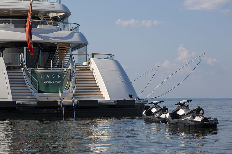 Hasna yacht stern with toys