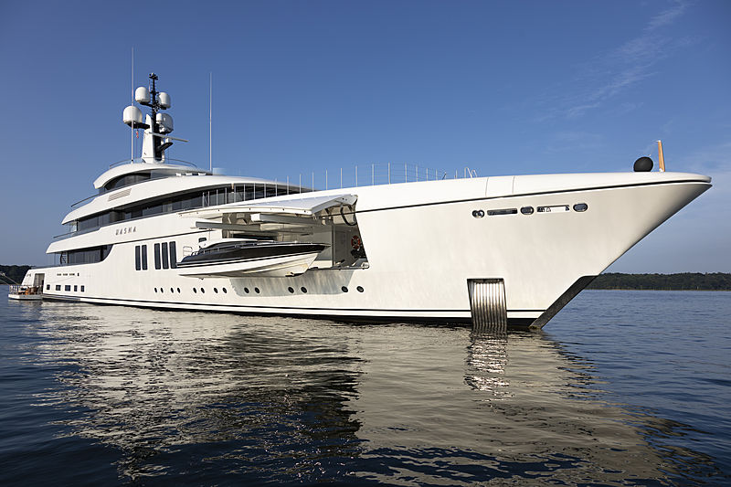 Hasna yacht anchored with tender bay open