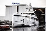 Feadship 706 yacht launch in Aalsmeer