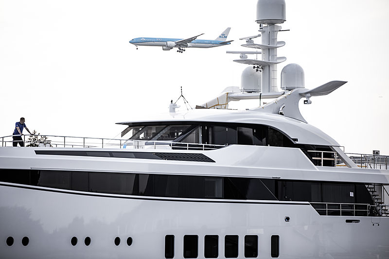 Feadship 706 yacht launch in Aalsmeer