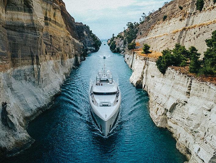 Najiba yacht by Feadship in the Corinth Canal, Greece