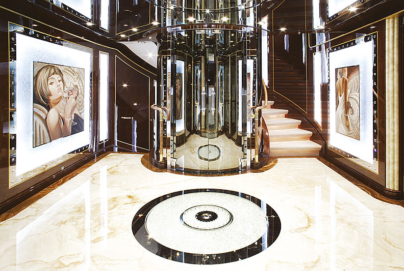 Diamonds are Forever yacht hall & staircase