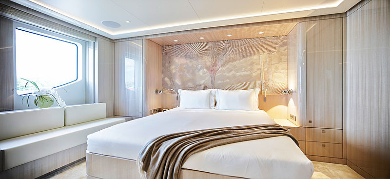 Soaring yacht stateroom