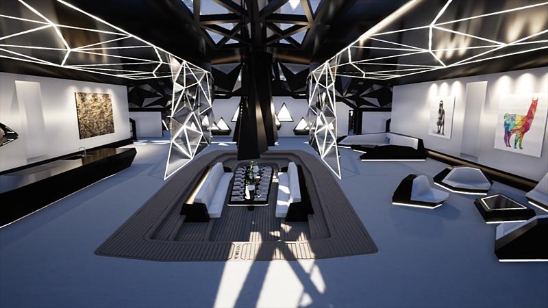 Nemesis One yacht saloon rendering