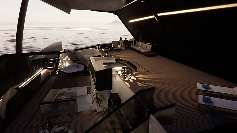 Nemesis One yacht deck rendering