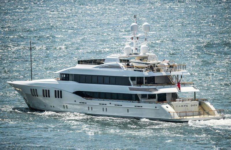 The Trinity superyacht Carpe Diem departing Port Everglades
