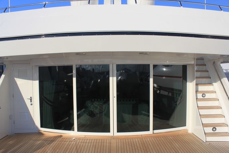 Exterior sliding doors on board Explora