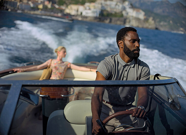 Elizabeth Debicki and John David Washington in Warner Bros. Pictures' action epic Tenet, a Warner Bros. Pictures release